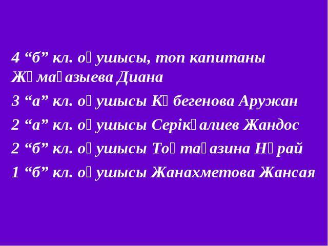 """4 """"б"""" кл. оқушысы, топ капитаны Жұмағазыева Диана 3 """"а"""" кл. оқушысы Көбегенов..."""