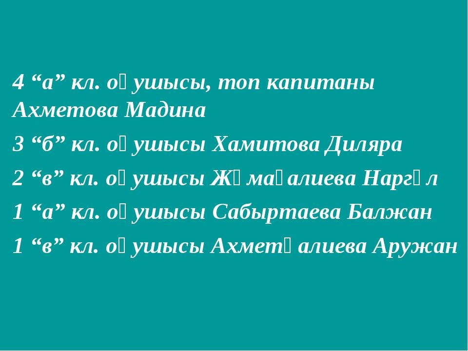 """4 """"а"""" кл. оқушысы, топ капитаны Ахметова Мадина 3 """"б"""" кл. оқушысы Хамитова Ди..."""