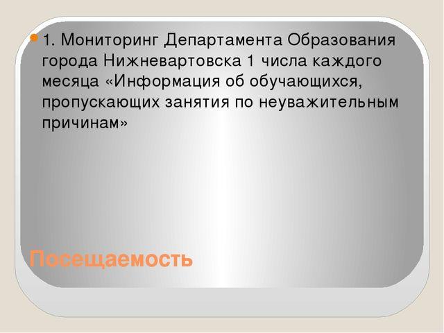 Посещаемость 1. Мониторинг Департамента Образования города Нижневартовска 1 ч...