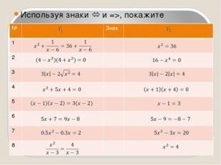 Используя знаки  и =>, покажите равносильные уравнения и уравнения-следствия