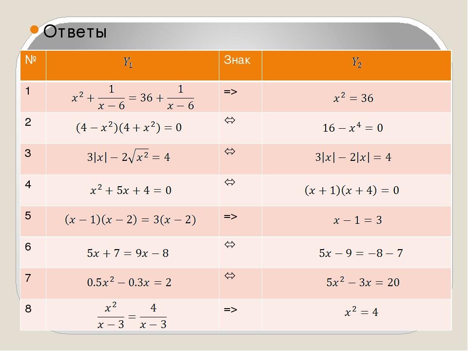 Ответы № Знак 1 => 2  3  4  5 => 6  7  8 =>