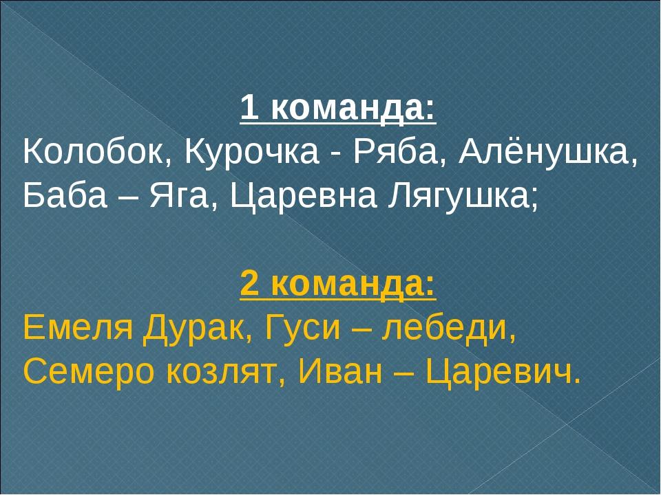 1 команда: Колобок, Курочка - Ряба, Алёнушка, Баба – Яга, Царевна Лягушка; 2...