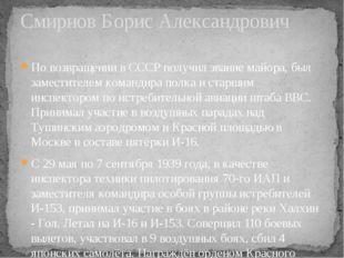 По возвращении в СССР получил звание майора, был заместителем командира полка