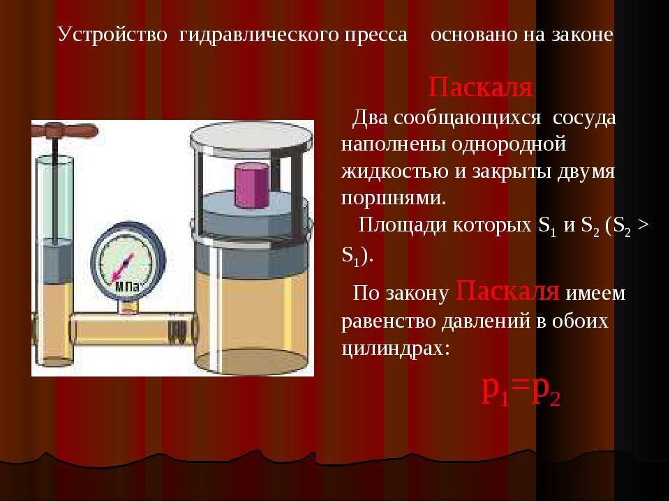 Устройство гидравлического пресса основано на законе Паскаля Два сообщающихся...