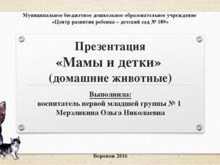Презентация «Мамы и детки» (домашние животные) Выполнила: воспитатель первой