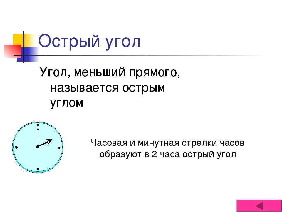 Острый угол Угол, меньший прямого, называется острым углом Часовая и минутная...