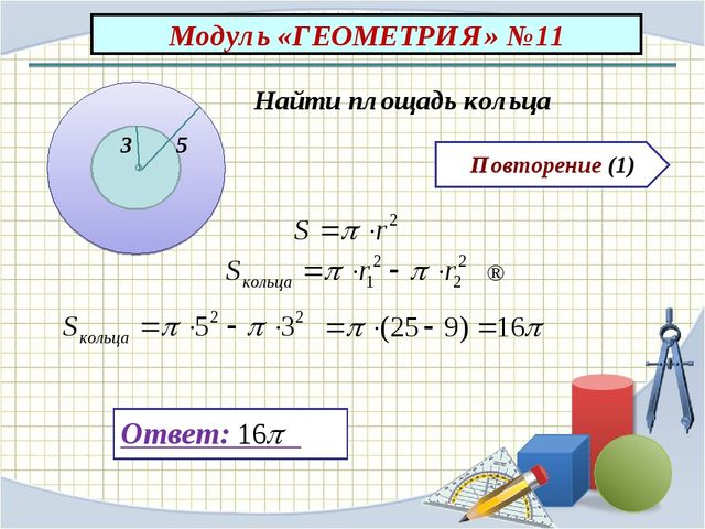 Повторение (1) Ответ: Найти площадь кольца 3 5 ⇒ Модуль «ГЕОМЕТРИЯ» №11