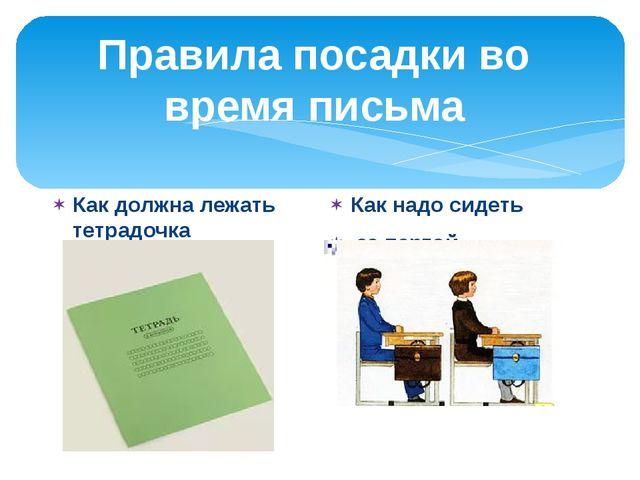 Правила посадки во время письма Как должна лежать тетрадочка Как надо сидеть...
