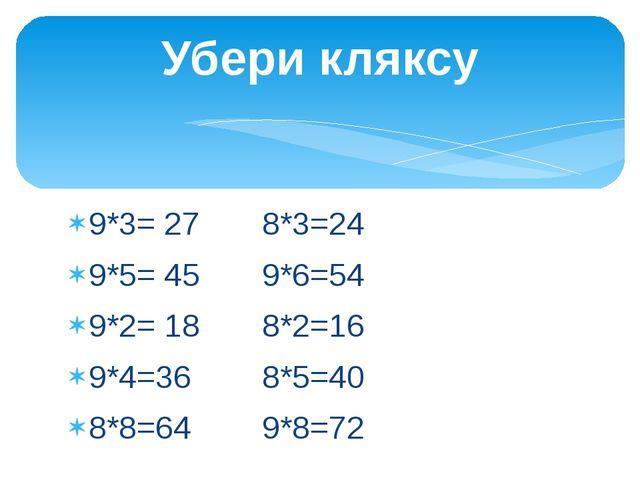 Убери кляксу 9*3= 27 8*3=24 9*5= 45 9*6=54 9*2= 18 8*2=16 9*4=36 8*5=40 8*8=6...