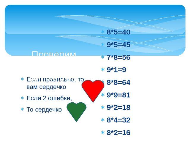 Если правильно, то вам сердечко Если 2 ошибки, То сердечко Проверим таблицу у...