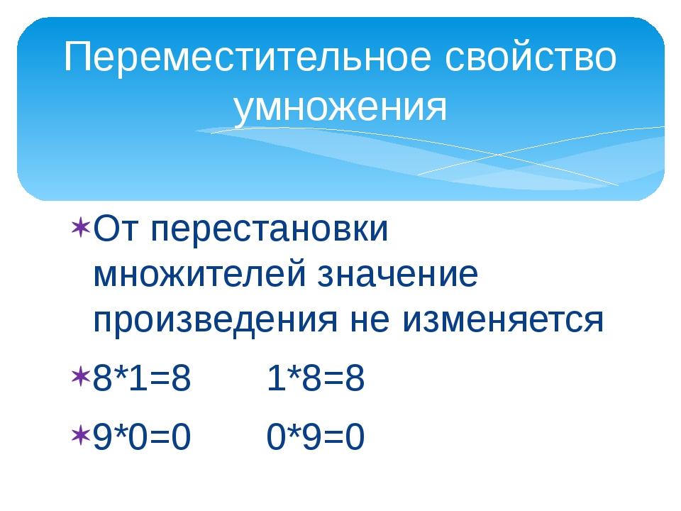 От перестановки множителей значение произведения не изменяется 8*1=8 1*8=8 9*...