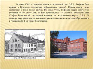 Осенью 1782, в возрасте шесть с половиной лет Э.Т.А. Гофман был принят в Б