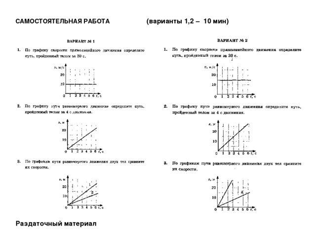 САМОСТОЯТЕЛЬНАЯ РАБОТА (варианты 1,2 – 10 мин) Раздаточный материал