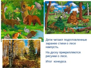 Дети читают подготовленные заранее стихи о лесе наизусть. На доску прикрепля