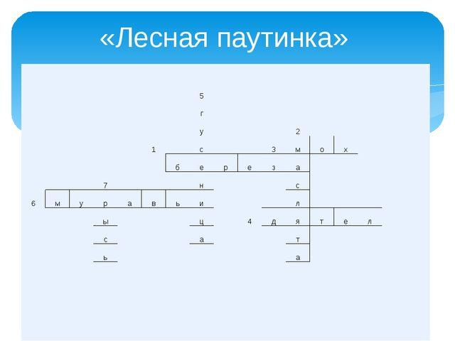 «Лесная паутинка» 5 г у 2 1 с 3 м о х б е р е з а 7 н с 6 м у р а в ь и л ы ц...