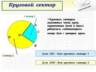 Круговым сектором называется часть круга, ограниченная дугой и двумя радиусам
