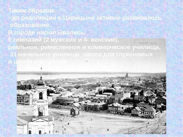 Таким образом: - до революции в Царицыне активно развивалось образование. В г...