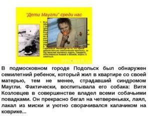В подмосковном городе Подольск был обнаружен семилетний ребенок, который жил