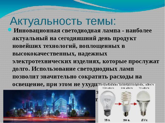 Актуальность темы: Инновационная светодиодная лампа - наиболее актуальный на...