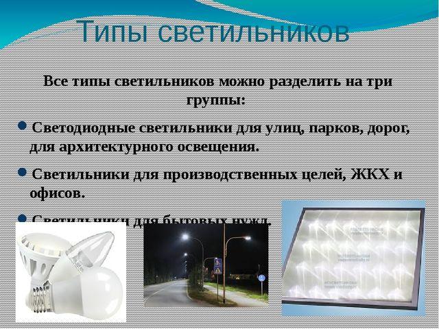 Типы светильников Все типы светильников можно разделить на три группы: Светод...