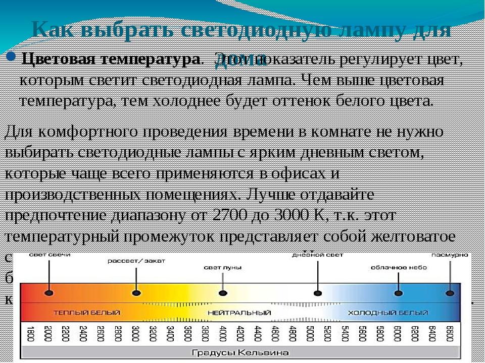 Как выбрать светодиодную лампу для дома Цветовая температура. Этот показатель...