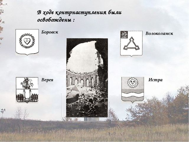 В ходе контрнаступления были освобождены : Боровск Верея Волоколамск Истра
