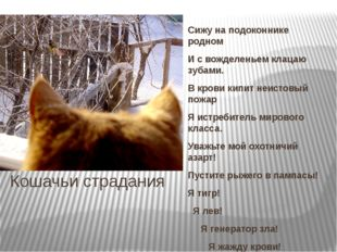 Кошачьи страдания Сижу на подоконнике родном И с вожделеньем клацаю зубами. В