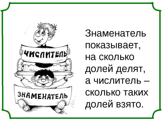 Знаменатель показывает, на сколько долей делят, а числитель – сколько таких д...