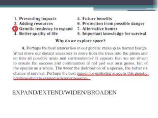 EXPAND/EXTEND/WIDEN/BROADEN