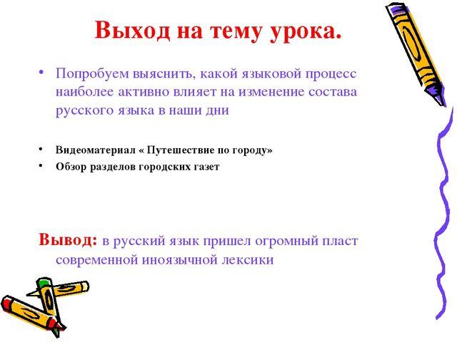 Выход на тему урока. Попробуем выяснить, какой языковой процесс наиболее акт...
