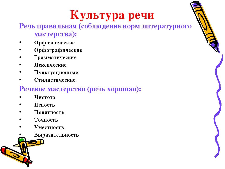 Культура речи Речь правильная (соблюдение норм литературного мастерства): Ор...