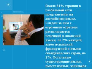 Около 81% страниц в глобальной сети представлены на английском языке. Следом
