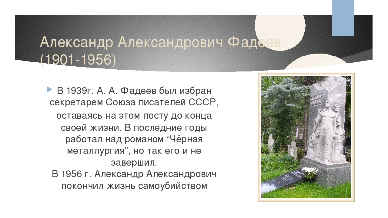 Александр Александрович Фадеев (1901-1956) В 1939г. А. А. Фадеев был избран с...