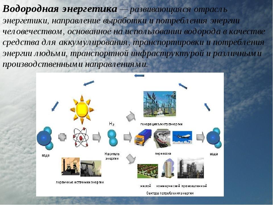 Водородная энергетика — развивающаяся отрасль энергетики, направление выработ...