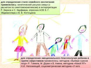 для определения стиля семейного воспитания применялись: кинетический рисунок