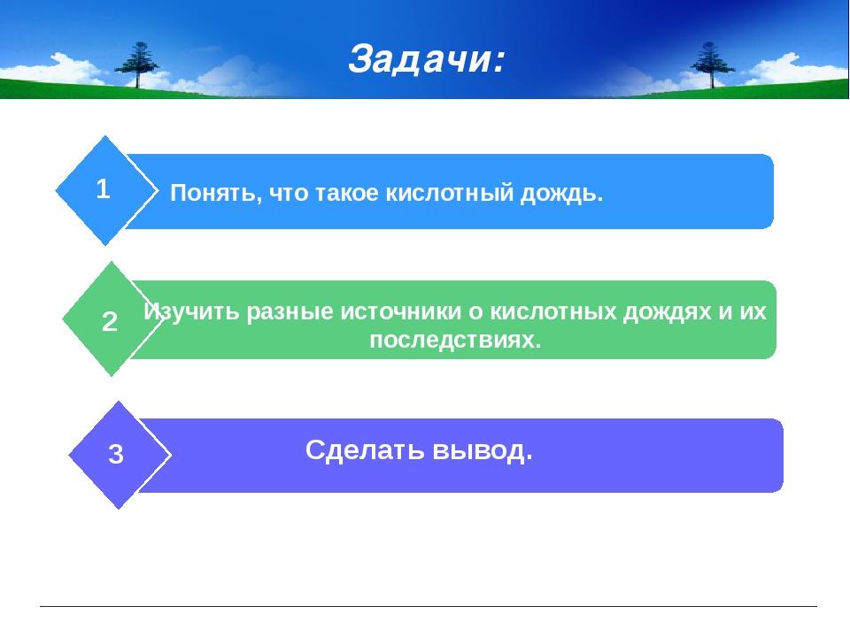 Задачи: Понять, что такое кислотный дождь. 1 Изучить разные источники о кисл...