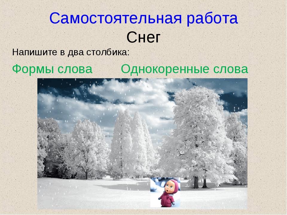 Самостоятельная работа Снег Напишите в два столбика: Формы слова Однокоренные...