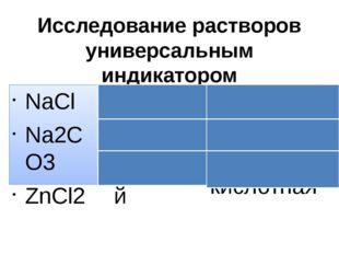 Исследование растворов универсальным индикатором NaCl Na2CO3 ZnCl2 Желтый Син