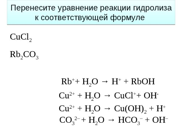 Сu2+ + H2O → Cu(OH)2 + H+ СO32– + H2O → HCO3– + OH– Сu2+ + H2O → CuCl++ OH- R...