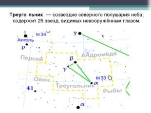 Треуго́льник — созвездие северного полушария неба, содержит 25 звезд, видимых