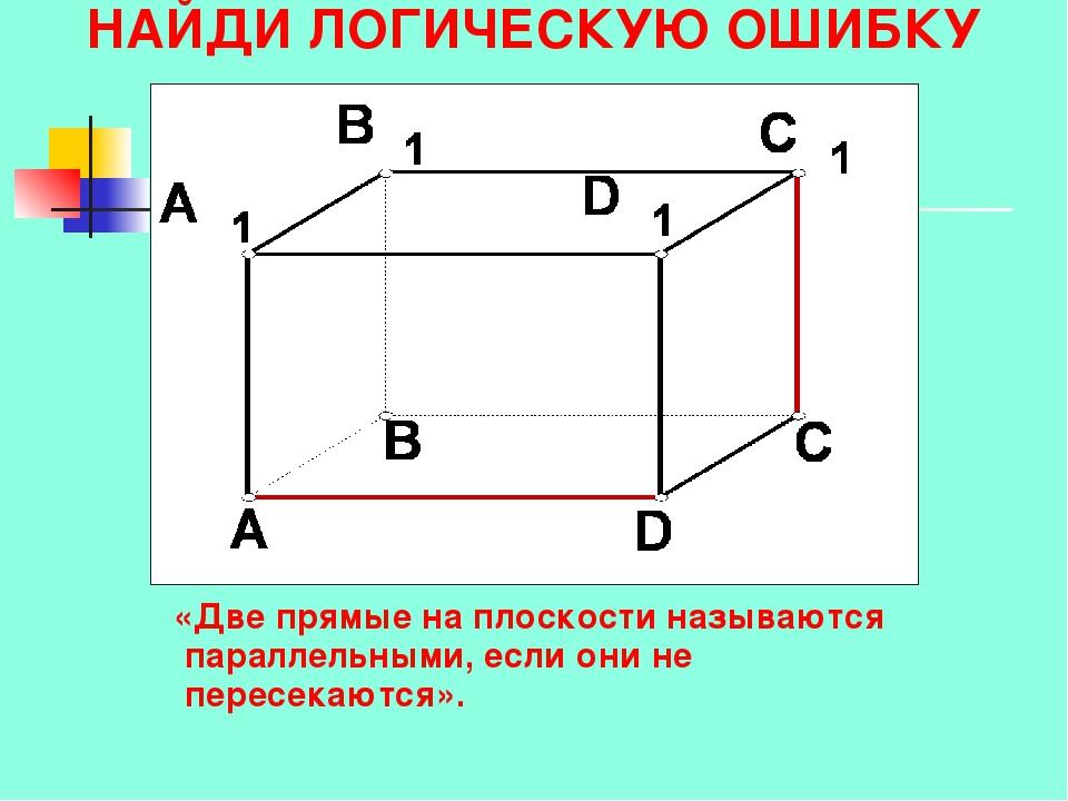 НАЙДИ ЛОГИЧЕСКУЮ ОШИБКУ «Две прямые на плоскости называются параллельными, ес...