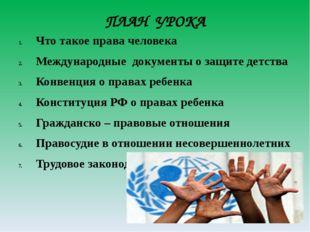 ПЛАН УРОКА Что такое права человека Международные документы о защите детства