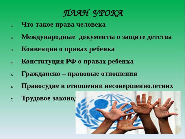 ПЛАН УРОКА Что такое права человека Международные документы о защите детства...