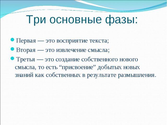 Три основные фазы: Первая — это восприятие текста; Вторая — это извлечение см...