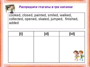 Распредели глаголы в три колонки [t][d][id]  cooked, closed, painted, smi