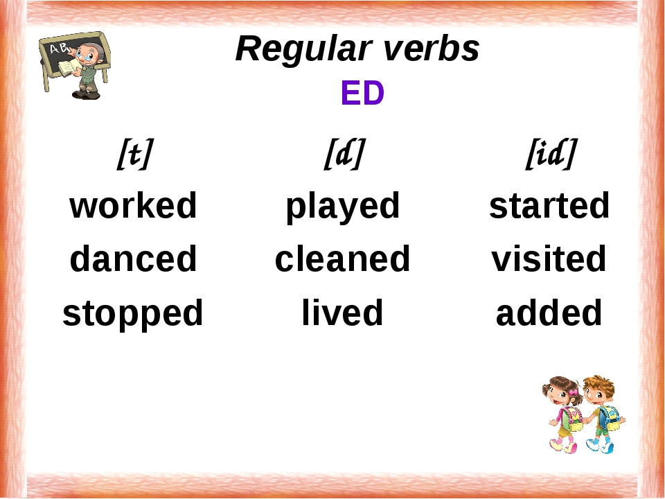 Regular verbs ED [t] worked danced stopped [d] played cleaned lived [id] sta...