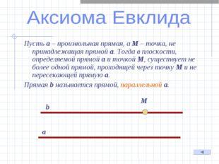 Пусть а – произвольная прямая, а М – точка, не принадлежащая прямой а. Тогда