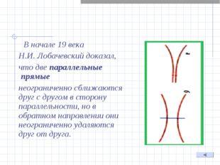 В начале 19 века Н.И. Лобачевский доказал, что две параллельные прямые нео