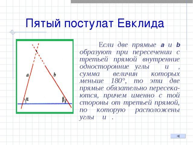 Пятый постулат Евклида Если две прямые а и b образуют при пересечении с треть...