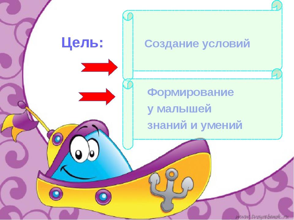 Цель: Создание условий Формирование у малышей знаний и умений
